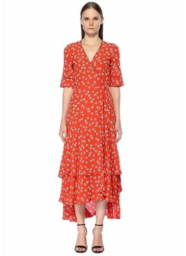 Ganni Çiçekli Uzun Anvelop Elbise Kırmızı